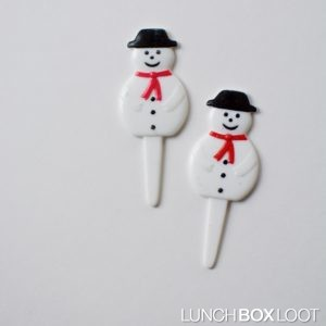 Snowman Cupcake/Bento Pick from lunchboxloot.com