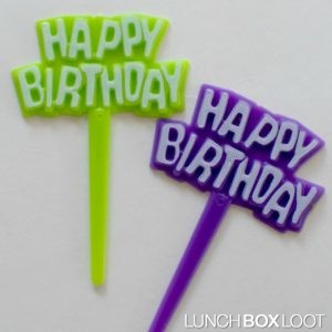 Happy Birthday Cupcake Picks from lunchboxloot.com